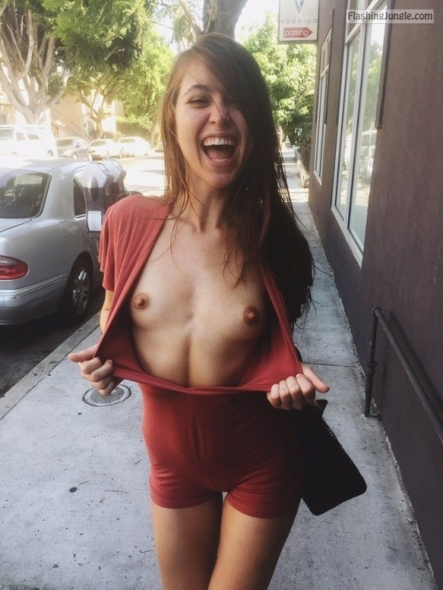 flashing jungle - public flashing with a smile boobs flash riley reid