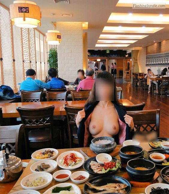 Japan big boobs flashing in restaurant Pinterest public flashing boobs flash
