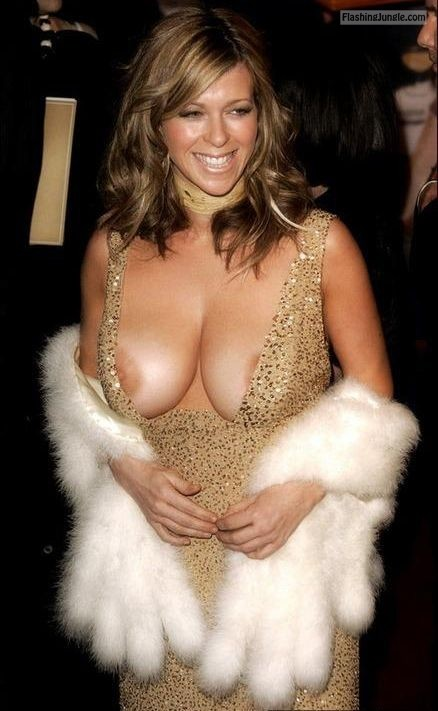 Celeb nip slip big tits, no bra, golden dress public flashing boobs flash