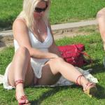 Pantyless bent over Hotwife waiting for bull in park