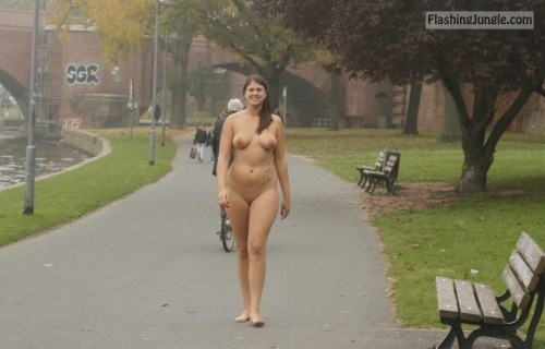 nakedcascadia: nudieman: BBW with a nice ass naked in... public nudity