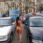 Petite brunette car parking