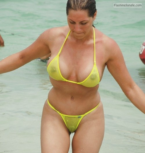 See trough wet yellow bikini voyeur public flashing milf pics howife