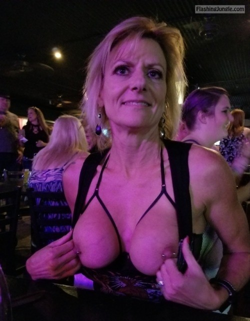 Blonde cougar pierced fake tits public flashing milf pics howife boobs flash