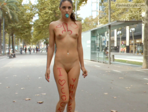 Cock loving slut street walk public nudity