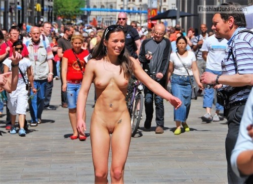 Happy brunette fully in the street naked public nudity