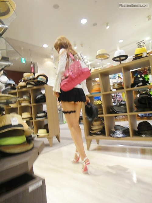 Japanese teen mini skirt high heels voyeur upskirt no panties flashing store