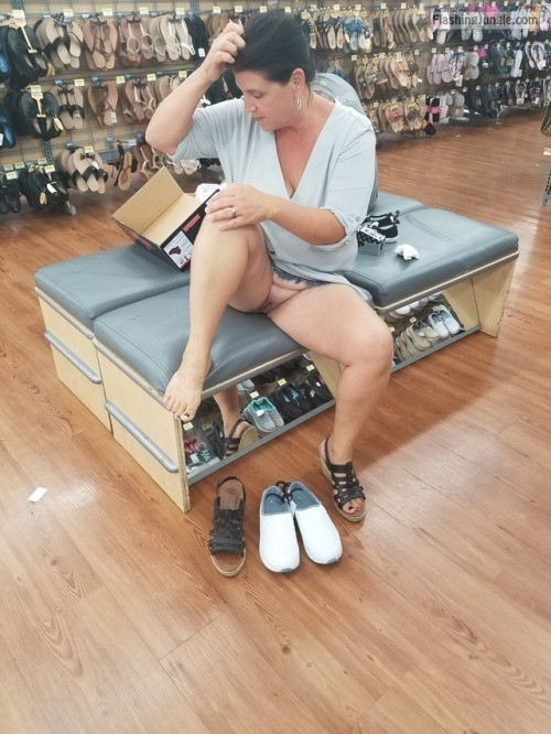 Pantie less granny shoes shopping