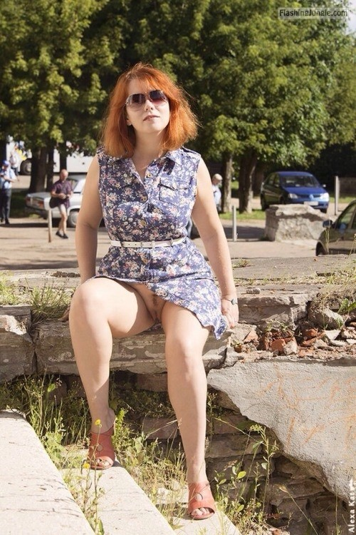 Ginger wife with glasses upskirt pussy flash public flashing no panties milf pics
