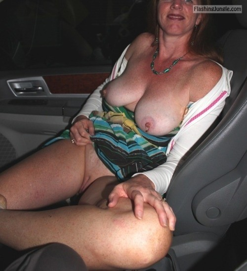 My wife pantyless no bra in car pussy flash no panties milf pics boobs flash