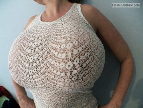 Lacy white tank top monster breasts boobs flash