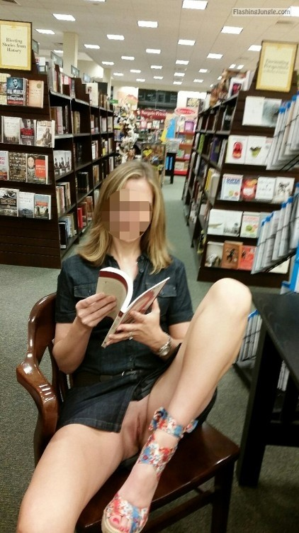 Without panties in Our bookstore set... upskirt pussy flash public flashing no panties milf pics howife flashing store