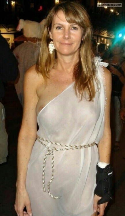 Stunning photo beautiful lady xx nipple slip transparent white dress public flashing milf pics boobs flash