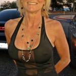Mature blonde visible pierced nipples