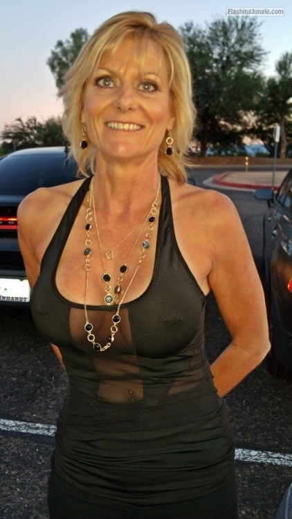 Mature blonde visible pierced nipples mature