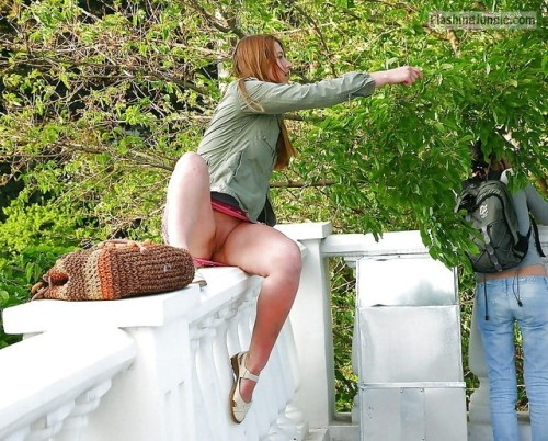 Redhead feels comfortable without underwear voyeur pussy flash public flashing no panties