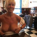 Short haired blonde Cougar restaurant