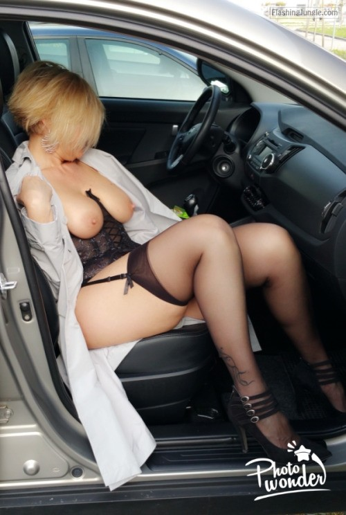 Curvy blonde cougar sexy underwear in car public flashing milf pics boobs flash bitch