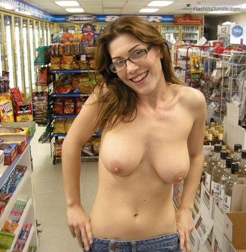 Busty beauty topless smiling in store public flashing flashing store boobs flash