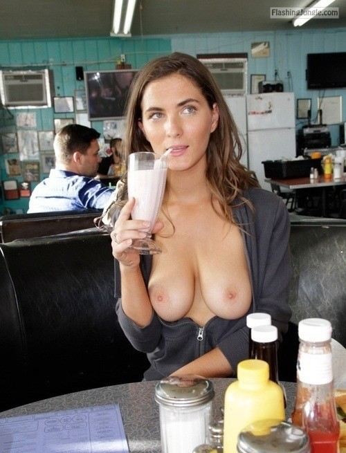 Boobs out while drinking shake in restaurant public flashing boobs flash bitch
