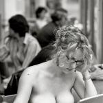 Topless MILF boobs on laptop