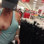 Big boob out wife with baseball cap