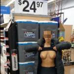 Walmart flashing her pancake nipples and saggy tits