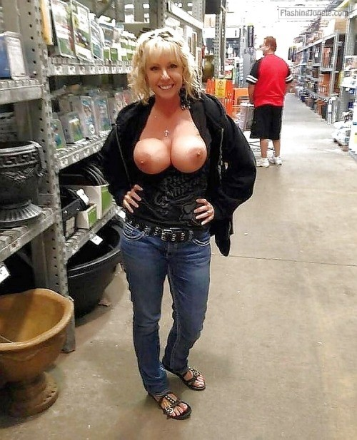 Blonde wife big tits happy public flashing milf pics howife flashing store boobs flash