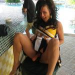 Strap-on high heels brunette poolside