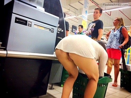 Mini skirt pantieless bent over in supermarket upskirt public flashing no panties howife bitch ass flash