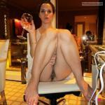 Brunette wife legs up drinking wine pantyless palazzo restaurant