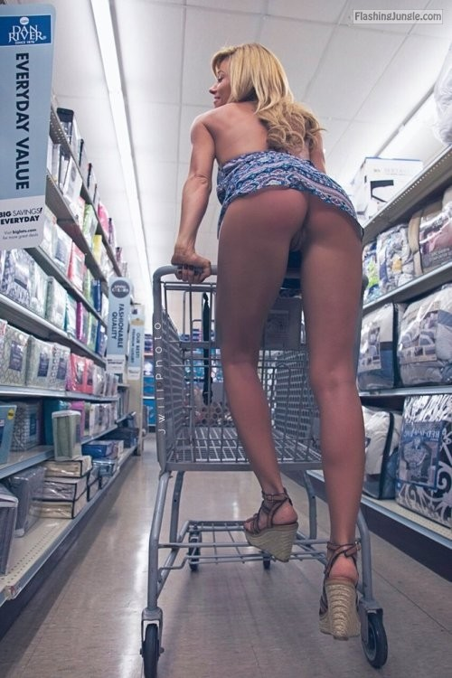Blond show pantyless pussy under supermarket trolley upskirt no panties bitch ass flash