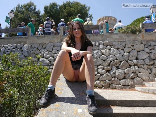 Very cute brunette tourist upskirt teen pussy flash public nudity public flashing no panties