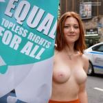 Cute redhead topless rights protest