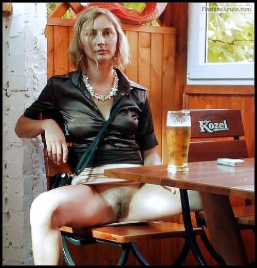 Slim blonde wife hairy pussy drinking beer pussy flash public flashing no panties milf pics howife