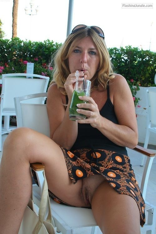 Cougar drinking juice and showing cunt on vacation upskirt pussy flash public flashing no panties milf pics howife