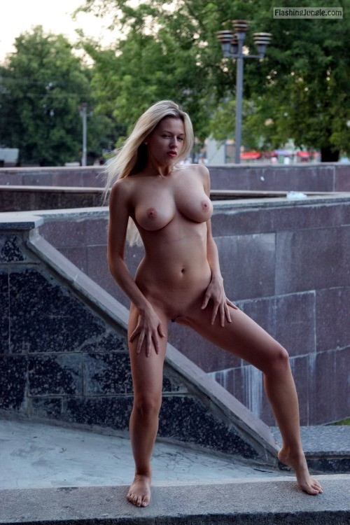 Petite but busty blonde public nudity