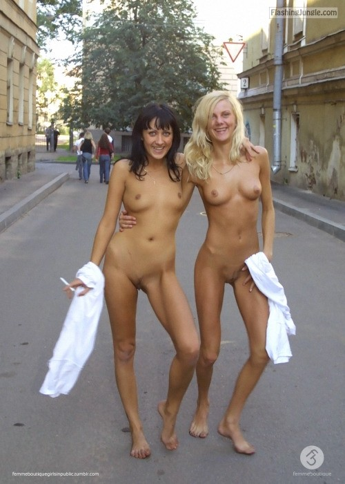Black and white: college girls naked happy public nudity