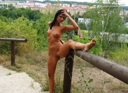 Petite naked brunette pussy flash public nudity public flashing