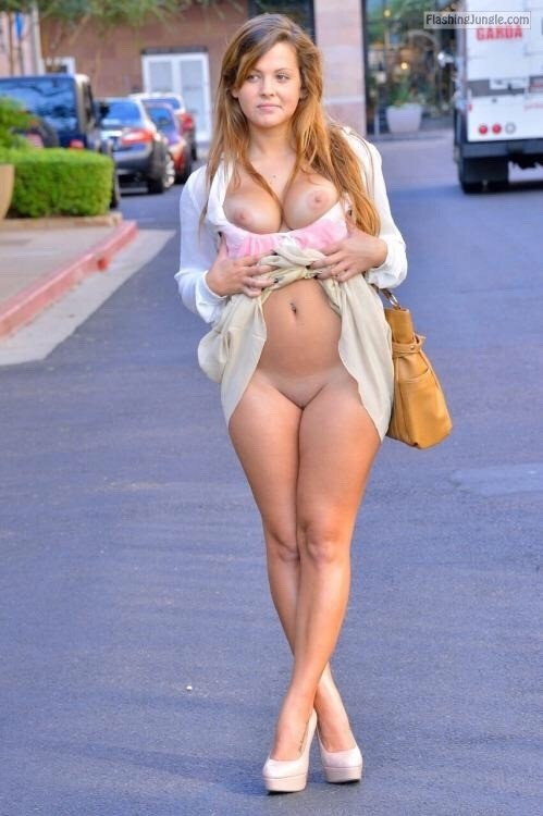 FTV beauty Keisha flashing curvy body in heels on the street public flashing no panties boobs flash