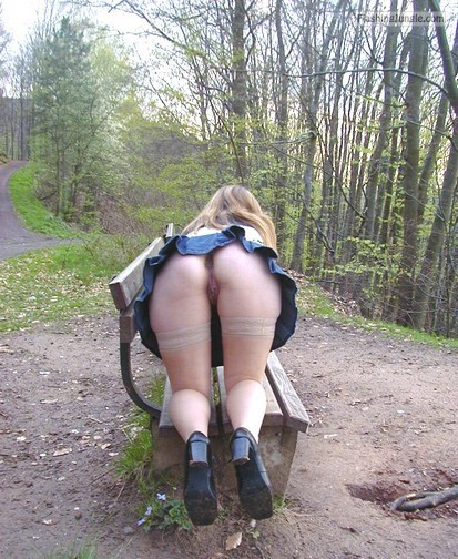 Bent over on bench in the forest upskirt public flashing no panties ass flash