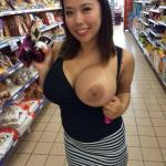 Asian hotwife huge boob out supermarket