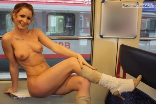 Naked in public transport: Slim redhead public nudity