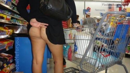 Pantyless shopping: hotwife pulls up black dress public flashing no panties milf pics howife flashing store ass flash