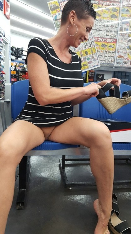 Short haired cougar pantyless at shoes store upskirt pussy flash public flashing no panties milf pics flashing store bitch