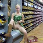 Blonde in green dress shoes store