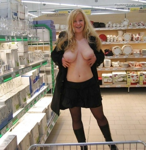 Big breasts Swedish wife flashing store boobs flash