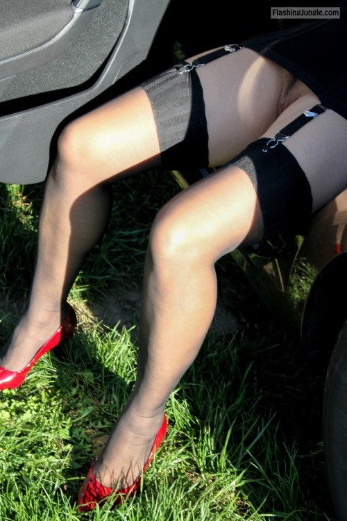 My wife seducing public voyeurs: Stockings, garters, red heels, pantyless upskirt pussy flash public flashing no panties milf pics howife
