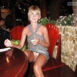 Pantyless dinner: Short haired wife in restaurant