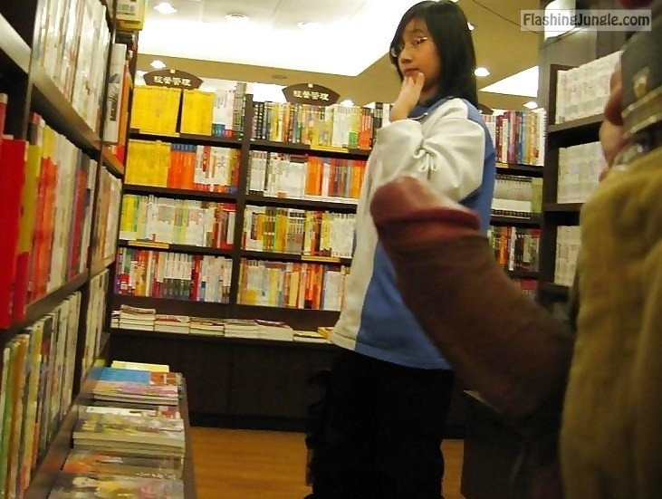 Hard cock for japanese teen in bookstore dick flash